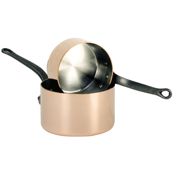 De Buyer 6460.14 1.3 Qt. Copper Sauce Pan with Cast Iron Handle