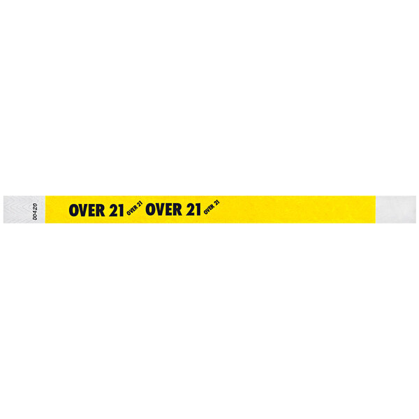 """Carnival King Neon Yellow """"OVER 21"""" Disposable Tyvek® Wristband 3/4"""" x 10"""" - 500/Bag Main Image 1"""