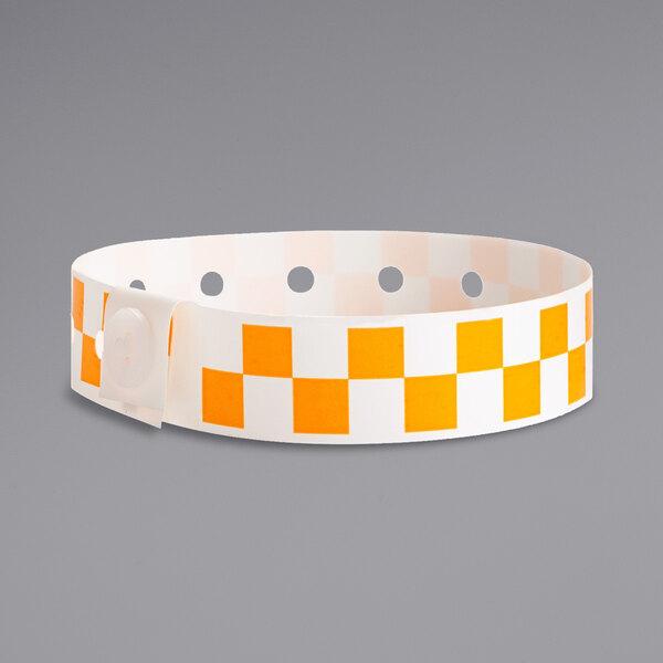 "Carnival King Orange Checkerboard Disposable Plastic Wristband 5/8"" x 10"" - 500/Box Main Image 1"
