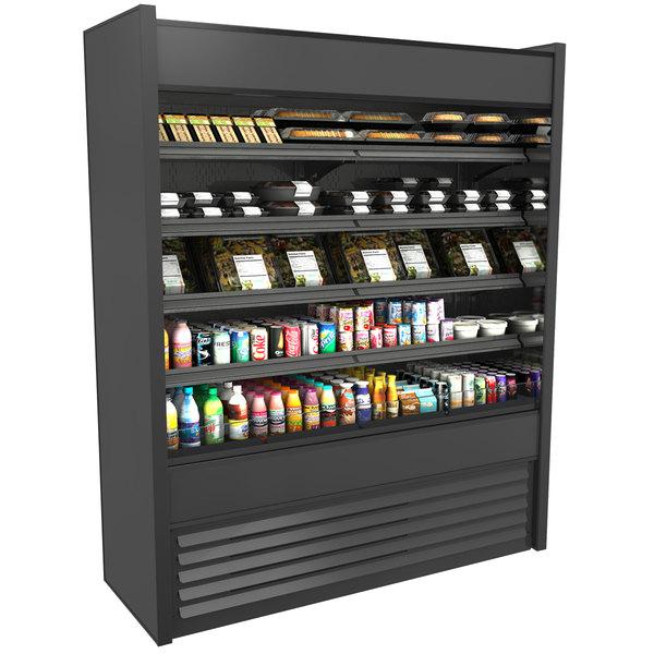 "Structural Concepts Oasis B62-QS Black 66 3/8"" Narrow Depth Air Curtain Merchandiser Refrigerator - 28.96 Cu. Ft., 208-240V"