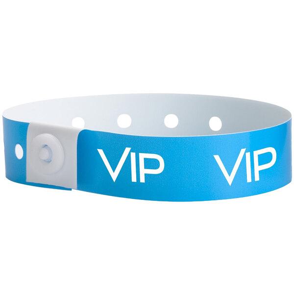 "Carnival King Neon Blue ""VIP"" Disposable Plastic Wristband 5/8"" x 10"" - 500/Box Main Image 1"