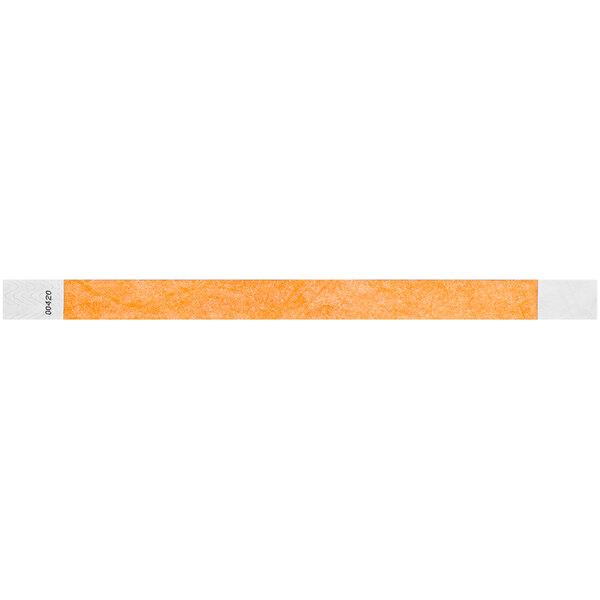 "Carnival King Neon Orange Disposable Tyvek® Wristband 3/4"" x 10"" - 500/Bag Main Image 1"
