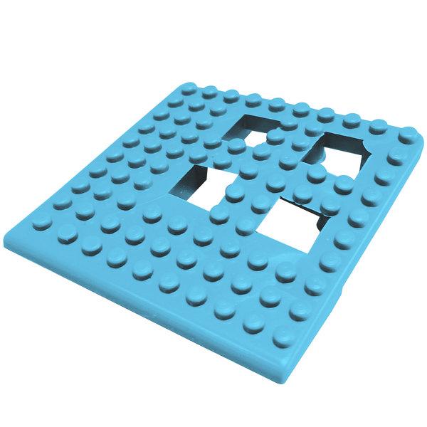 """Cactus Mat 2554-PUC Dri-Dek 2"""" x 2"""" Pool Blue Vinyl Interlocking Drainage Floor Tile Corner Piece - 9/16"""" Thick"""
