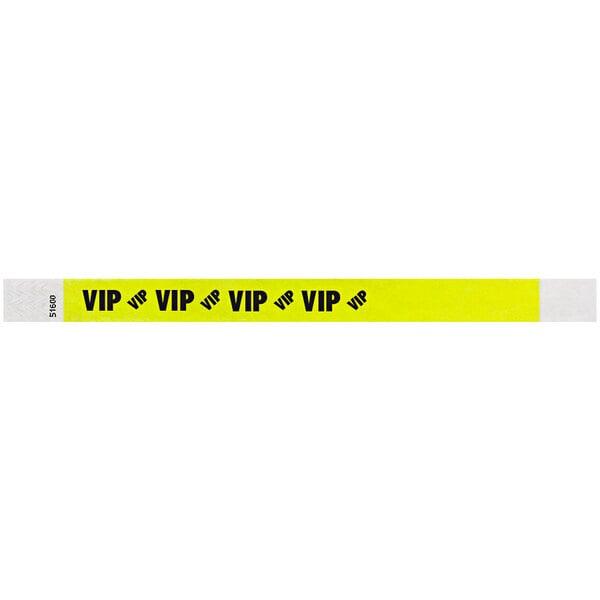 "Carnival King Highlighter Yellow ""VIP"" Disposable Tyvek® Wristband 3/4"" x 10"" - 500/Bag Main Image 1"