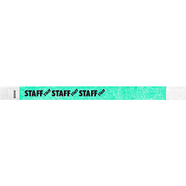 "Carnival King Aqua ""STAFF"" Disposable Tyvek® Wristband 3/4"" x 10"" - 500/Bag Main Image 1"