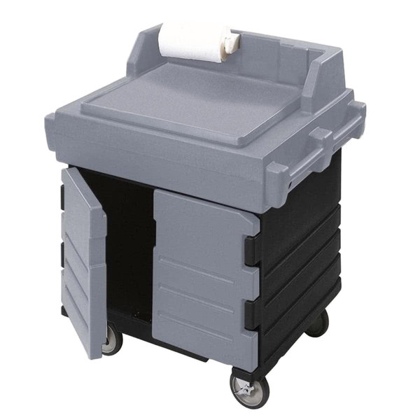 Cambro KWS40426 Black Base with Granite Gray Door CamKiosk Food Preparation / Counter Work Station Cart Main Image 1