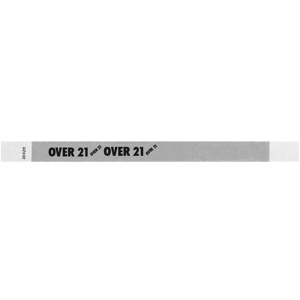 """Carnival King Silver """"OVER 21"""" Disposable Tyvek® Wristband 3/4"""" x 10"""" - 500/Bag Main Image 1"""