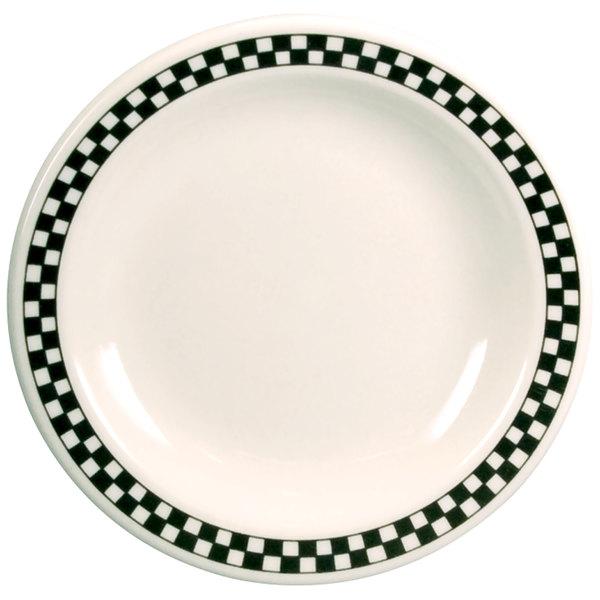 "Homer Laughlin Black Checkers 6 1/2"" Creamy White / Off White China Plate - 36/Case"