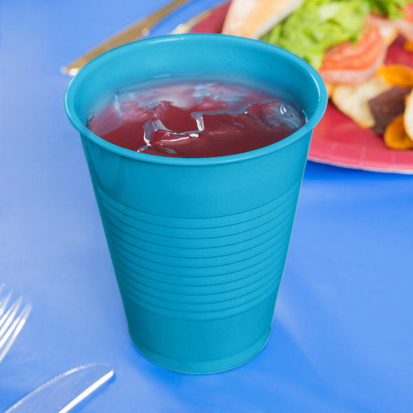 Creative Converting 28313181 16 oz. Turquoise Plastic Cup - 240/Case Main Image 3