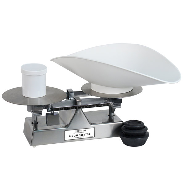 Cardinal Detecto 1052TBS 8 lb. Stainless Steel Baker's Dough Scale with Scoop - 16 oz. x 0.25 oz. Beam Grads