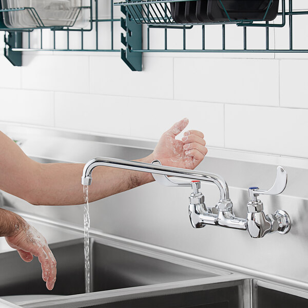 """Waterloo FW812WHK Wall-Mounted Faucet with 8"""" Centers, 12"""" Swing Spout, and Wrist Handles Main Image 4"""