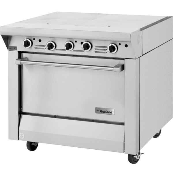 """Garland M46S Master Series Natural Gas 2 Section Even Heat Hot Top 34"""" Range with Storage Base - 90,000 BTU Main Image 1"""