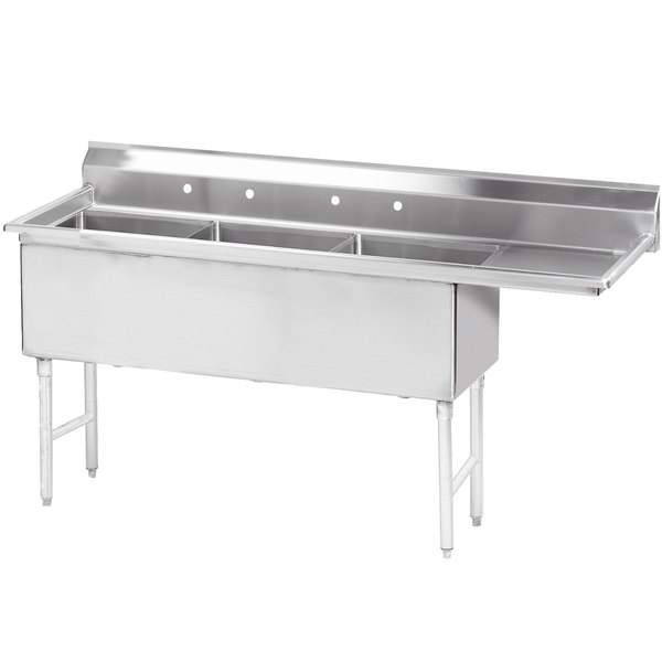 """Right Drainboard Advance Tabco FS-3-2424-24 98 1/2"""" Spec Line Fabricated Three Compartment Pot Sink with One Drainboard"""