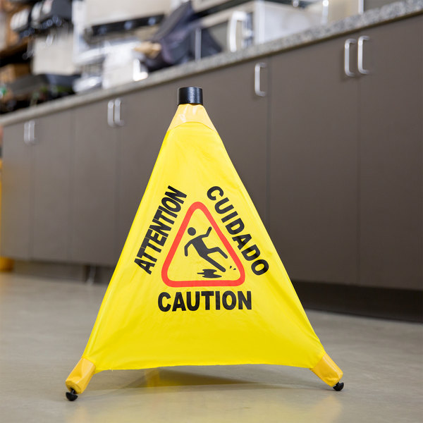 "20"" Pop-Up Safety Cone Wet Floor Sign"