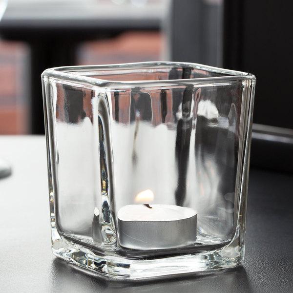 Libbey 5474 7.5 oz. Cube Votive Holder / Condiment Jar - 12/Case