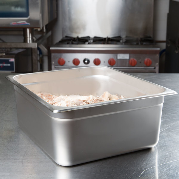 "Choice 2/3 Size Standard Weight Anti-Jam Stainless Steel Steam Table / Hotel Pan - 6"" Deep"