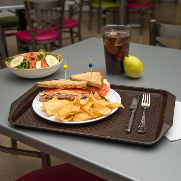 """Carlisle CT121769 Customizable Cafe 12"""" x 17"""" Chocolate Brown Handled Plastic Fast Food Tray - 12/Case"""