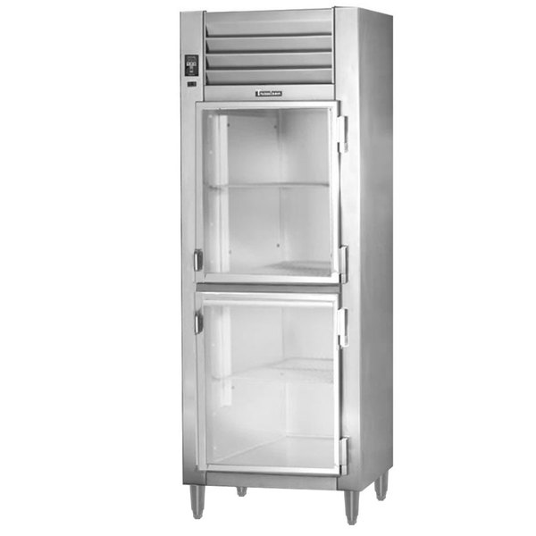 "Traulsen RHT132NPUT-HHG 26"" Stainless Steel Glass Half Door Pass-Through Refrigerator - Specification Line Main Image 1"
