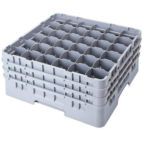 """Cambro 36S900151 Soft Gray Camrack Customizable 36 Compartment 9 3/8"""" Glass Rack Main Image 1"""
