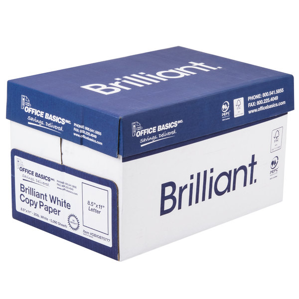 8 1/2 inch x 11 inch Bright White 20# Copy Paper Case - 5000 Sheets