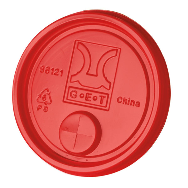 """GET LID-88121-R Disposable Red Plastic Lid with Straw Slot for 3"""" Diameter Tumblers - 2000/Case"""