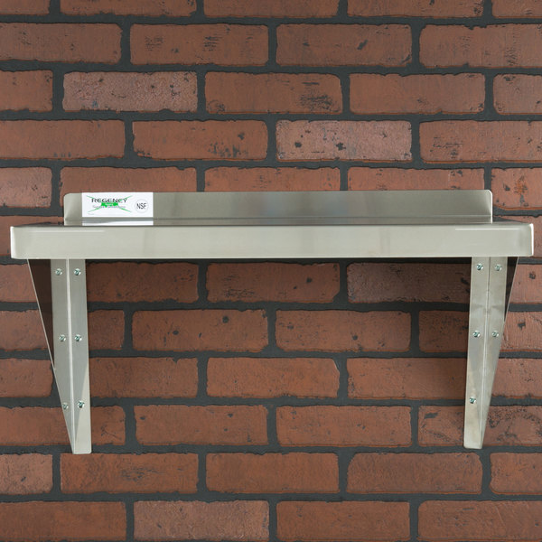 "Regency 18 Gauge Stainless Steel 12"" x 24"" Solid Wall Shelf"