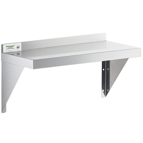 "Regency 18 Gauge Stainless Steel 12"" x 24"" Solid Wall Shelf Main Image 1"