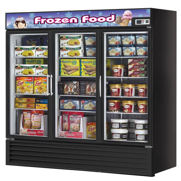 Turbo Air TGF-72FB Black Three Glass Door Reach In Merchandising Freezer - 72 Cu. Ft.