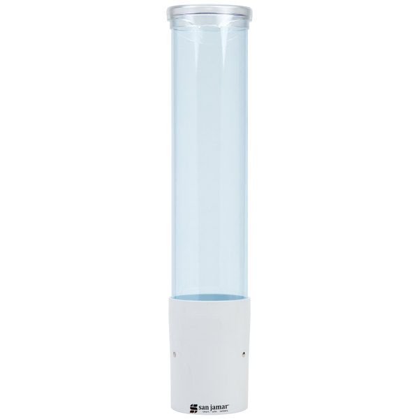 San Jamar C4180TBLW Pull-Type Arctic Blue Wall Mount 3 - 5 oz. Water Cup Dispenser with Throat and Flip Cap