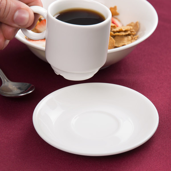 "Arcoroc G3749 Daring 4 1/2"" Porcelain Saucer for G3744 Porcelain Cup by Arc Cardinal - 24/Case Main Image 4"