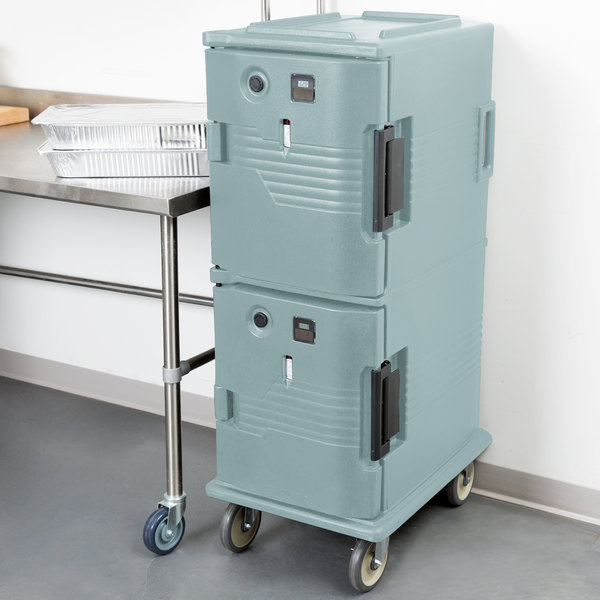 Cambro UPCH800401 Slate Blue Ultra Camcart Two Compartment Heated Holding Pan Carrier with Casters, Both Compartments Heated - 110V
