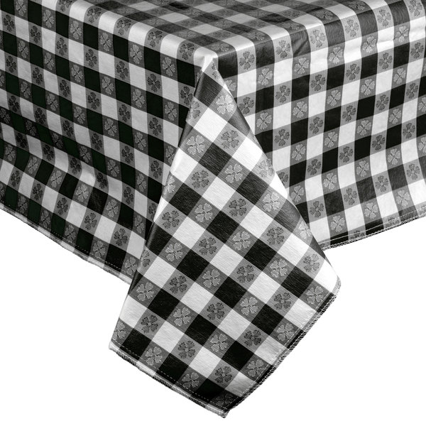 Black-Checkered Vinyl 25 Yard Roll Table Cover with Flannel Back