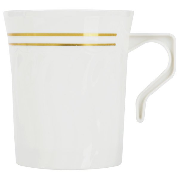 Fineline Silver Splendor 508-BO Bone / Ivory 8 oz. Plastic Coffee Mug - 120 / Case