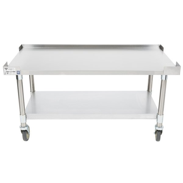 "APW Wyott SSS-48C 16 Gauge Stainless Steel 48"" x 24"" Medium Duty Cookline Equipment Stand with Galvanized Undershelf and Casters"
