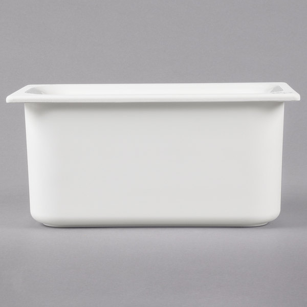 "Carlisle CM110302 Coldmaster 1/3 Size White Divided Cold Food Pan - 6"" Deep"