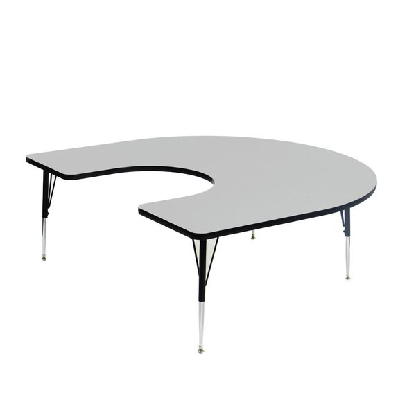 "Correll EconoLine AM6066-HOR 60"" x 66"" Gray Adjustable Height Horseshoe Activity Table"