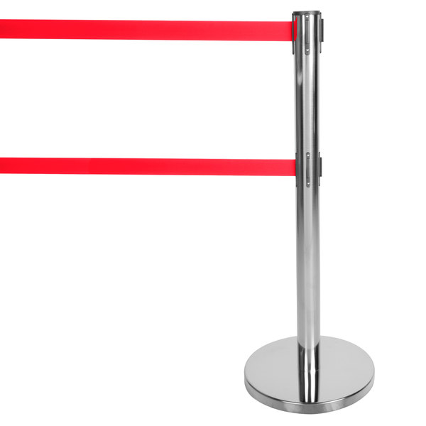 """Aarco HC-27 Chrome 40"""" Crowd Control / Guidance Stanchion with Dual 84"""" Red Retractable Belts"""