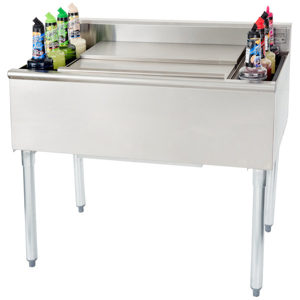 """Eagle Group B3CT-16D-18-7 36"""" Underbar Cocktail / Ice Bin with Post-Mix Cold Plate and Eight Bottle Holders Main Image 10"""