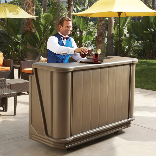 "Cambro BAR650194 Granite Sand Cambar 67"" Portable Bar with 7-Bottle Speed Rail"