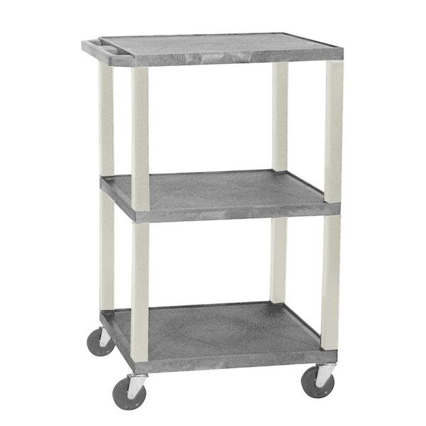 "Luxor WT1642GYE Gray Tuffy Open Shelf A/V Cart 18"" x 24"" with 3 Shelves - Adjustable Height"