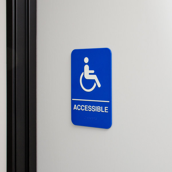 "ADA Handicap Accessible Sign with Braille - Blue and White, 9"" x 6"""