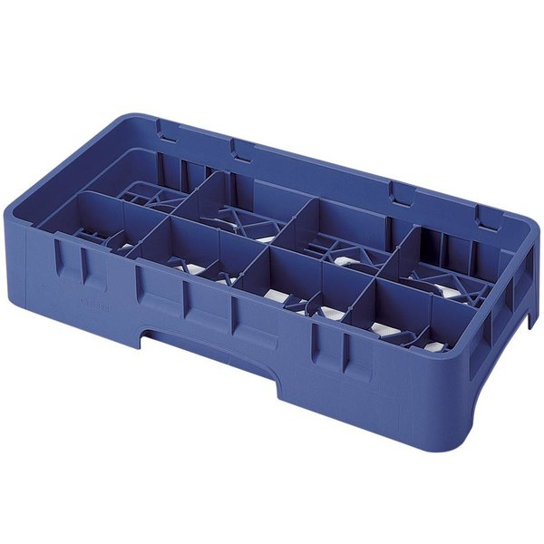 "Cambro 8HS434186 Navy Blue Camrack Customizable 8 Compartment 5 1/4"" Half Size Glass Rack Main Image 1"