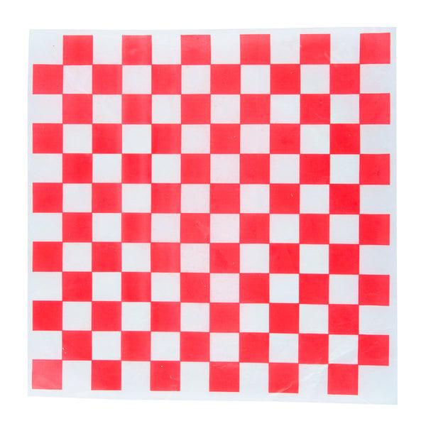 """Choice 15"""" x 15"""" Red Check Deli Sandwich Wrap Paper - 4000/Case"""