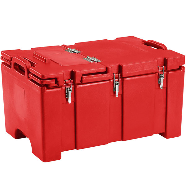 """Cambro 100MPCHL158 Camcarrier® 100 Series Hot Red Top Loading 8"""" Deep Insulated Food Pan Carrier with Hinged Lid Main Image 1"""