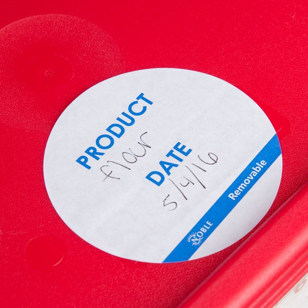 """Noble Products 3"""" Product Date Round Removable Label with Dispenser Carton - 500/Roll"""