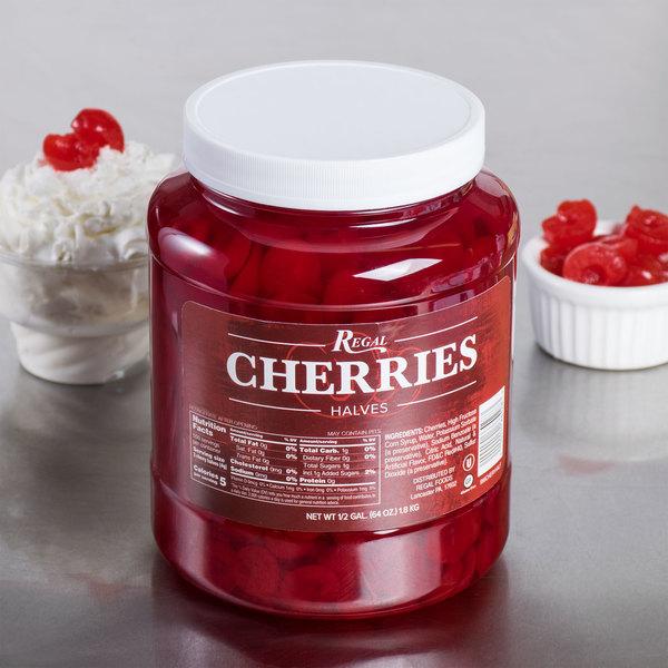 Regal Maraschino Cherry Halves 1/2 Gallon Jar - 6/Case