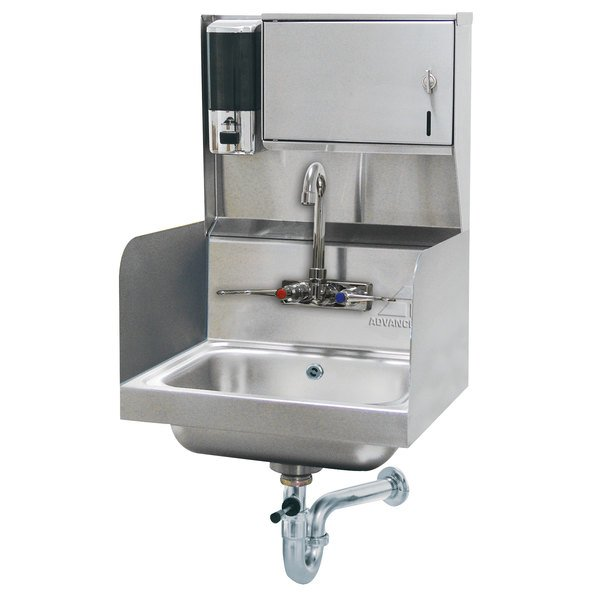 Advance Tabco 7-PS-87 Hand Sink with Splash Mounted Gooseneck Faucet, Side Splash Guards and Soap Dispenser - 17 1/4""