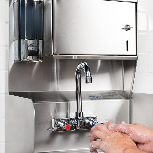 """Advance Tabco 7-PS-87 Hand Sink with Splash Mounted Gooseneck Faucet, Side Splash Guards and Soap Dispenser - 17 1/4"""""""