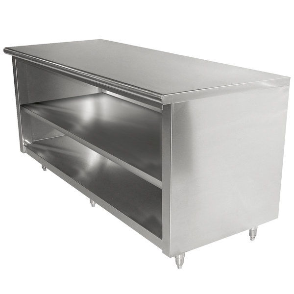 """Advance Tabco EB-SS-2412M 24"""" x 144"""" 14 Gauge Open Front Cabinet Base Work Table with Fixed Mid Shelf"""