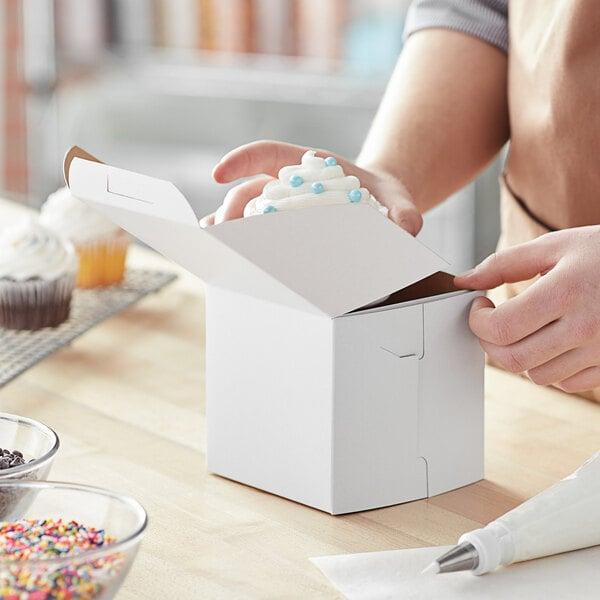 "Baker's Mark 4 1/2"" x 4 1/2"" x 4 1/2"" White Cupcake / Bakery Box - 200/Case Main Image 5"